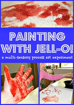 Painting with Jell-O!  A fun way for the kiddos to explore scent and texture while painting!
