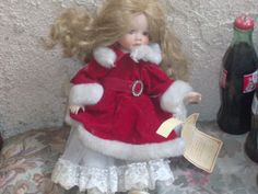Red white Christmas santa Porcelain Doll by PatsapearlsBoutique, $9.99