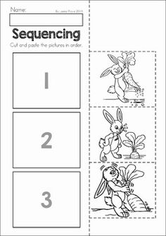 Spring Preschool No Prep Worksheets & Activities. A page from the unit: spring sequencing cut and paste