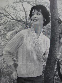 1960's Vintage Knitting Pattern. Love the neck detail.