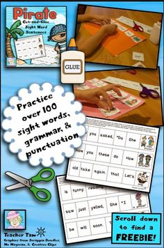 Pirate Cut-and-Glue Sentences for Kindergarten and First--and a FREEBIE!  Scroll down to grab 2 pages for FREE!