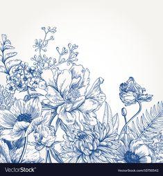 Botanical Art, Botanical Illustration, Illustration Art, Deco Floral, Motif Floral, Flower Background Wallpaper, Flower Backgrounds, Flower Sketches, Tatoo Art