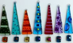 Kiln Fused Glass Ornament  6.25 tall  Gift Box Included