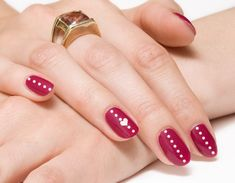 Red with White Heart Nail Art