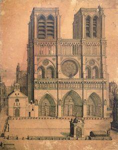 Fontaine du Parvis Notre-Dame Dessin daté de 1699, la fontaine et à droite la statue du Jeûneur.