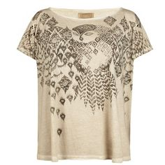 Ikat Owl T-shirt ($53) ❤ liked on Polyvore featuring tops, t-shirts, shirts, blusas, oversized shirt, tee-shirt, owl shirt, over sized t shirts and brown tops