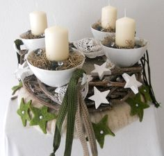 Advent wreath Christmas Advent Wreath, Christmas Time, Xmas, Candle Holders, Candles, Couture, Table Decorations, Winter, Flowers