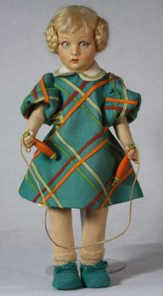 "Antique Lenci Cloth Doll ""Lucy"" Jump Rope Girl C1920 