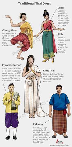 Traditional Thai Clothing, Traditional Fashion, Traditional Dresses, Thai Fashion, Oriental Fashion, Thailand Fashion, Thai Dress, Fashion History, Thai Thai