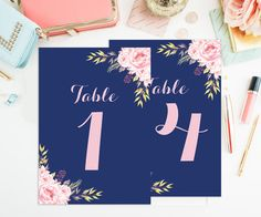 Instant Download Printable Table Numbers, The Calistoga Wedding Collection Add a special touch to each table with these blush pink and Navy blue romantic elegant floral printable table numbers with an option to print 4x6 and 5x7 numbering cards 1-20. This instant download can be printed immediately after downloading for quick turnaround time.  This high resolution digital printable table numbers includes a 4x6 and 5x7 cards. Print as many as you like at home or local print shop. No physical…