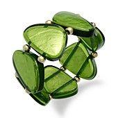 Style Bracelet, Gold-Tone Green Resin Shell Stretch Bracelet