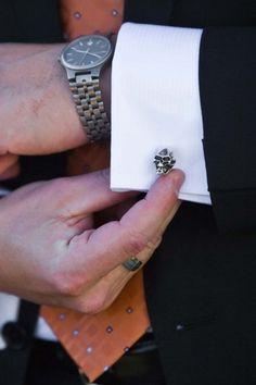 Classic Halloween Wedding: Tamara  Jason | Wedding Planning, Ideas  Etiquette | Bridal Guide Magazine* love these cuff links! *