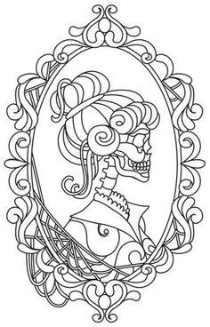 Hers Skeleton Cameo design (UTH11764) from UrbanThreads.com
