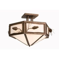 Steel Partners Ponderosa Pine Hexagon Drop Semi Flush Mount Finish: Old Iron, Shade Color: Slag Glass Pretended