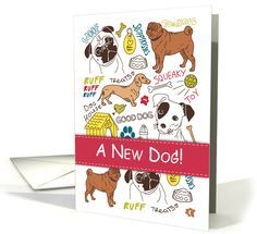 Congratulations on New Dog, Cute Drawings of Mixed Breeds card.  This card has been chosen as the Design of the Day on Greeting Card Universe!