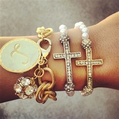 Southern Fried Chics- Beaded Rhinestone Cross Bracelet