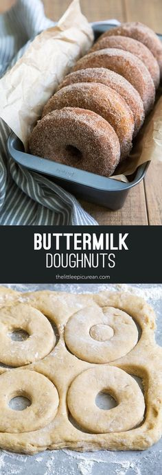 Buttermilk Doughnuts (cinnamon sugar coated) - The Little Epicurean (quick things to bake) Weight Watcher Desserts, Donut Recipes, Cooking Recipes, Buttermilk Recipes, Buttermilk Donut Recipe, Cinnamon Sugar Recipe, Recipe Doughnuts, Buttermilk Cookies, Bon Appetit