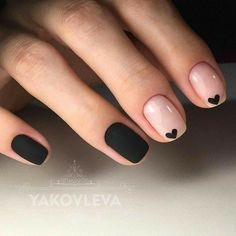 Black and Nude Nails. Heart Nails. Black Matte Nails. Gel Nails.