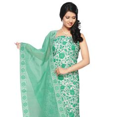 Off White and Green Chanderi Art Silk Churidar Kameez, unstiched - customizable $ 73