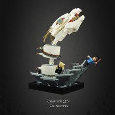 Harry Potter and the Deathly Hallows 19 – Escaping Gringotts! Harry Potter Stories, Lego Harry Potter, Lego Hogwarts, Amazing Lego Creations, Lego Minifigs, Lego Worlds, Lego Design, Lego Projects, Custom Lego