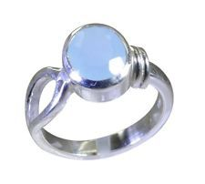 graceful Blue chalcedony 925 Sterling Silver Blue Ring gemstone L-1in US 5678