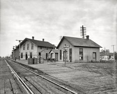 "Circa 1905. ""Station & buildings at Chenoa, Illinois."""