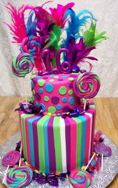 Sweet 16 with feathers, Lollypops and candy made of fondant serves 60