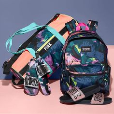 classic ~ custom victoria secret style girlie baby blue backpack set with an athletic duffle bag, full swim gear and swim sandals (impressive, updated and practical) * solid Mochila Victoria Secret, Victoria Secret Backpack, Victoria Secret Bags, Victoria Secrets, Pink Official, Pink Nation, Cute Backpacks, Victoria Secret Fashion, Pink Outfits