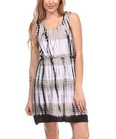 Look what I found on #zulily! Gray & Black Tie-Dye Scoop Neck Dress by Urban X #zulilyfinds