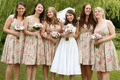 Floral pattern bridesmaid dresses