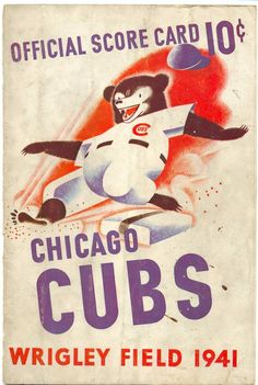 The art on this 1941 Chicago Cubs Poster has been custom produced by Vintage Brand. The Cubs finished the season with a record of Chicago Cubs Fans, Chicago Cubs World Series, Chicago Cubs Baseball, Chicago Bears, Chicago Poster, Cubs Win, Chicgo Cubs, Go Cubs Go