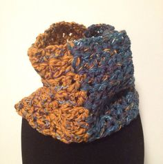 Crochet Teal & Mustard Cowl on Etsy, $20.00 CAD
