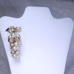 Vintage pearl grape cluster wedding brooch pendant by jewelry715, $18.00