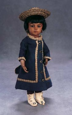 The Great Man's Doll: 188 French Bisque Bebe with Tawny-Brown Complexion by Leon Casimir Bru,Size 2