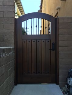 Custom Wood Gate with Decorative Metal Pickets by Garden Passages Backyard Gates, Garden Gates And Fencing, Garden Doors, Fence, Outdoor Gates, Front Gate Design, House Gate Design, Door Gate Design, Wooden Garden Gate