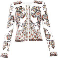 BCBGMAXAZRIA Runway Khleo Jacket ($998) ❤ liked on Polyvore featuring outerwear, jackets, bcbgmaxazria, white peplum jacket, embroidered jacket, leather jacket and colorful jackets