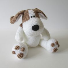 Spot the Puppy Knitting pattern by Amanda Berry Knitting Dolls Free Patterns, Knitted Dolls Free, Crochet Toys, Knitted Bags, Amigurumi Patterns, Knit Crochet, Knitted Stuffed Animals, Knitted Animals, Knitting Projects
