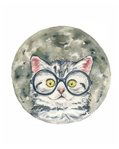 Moon Watercolor Print - Cat Watercolor, Gray Kitten, Round Glasses, 5x7 Art Print