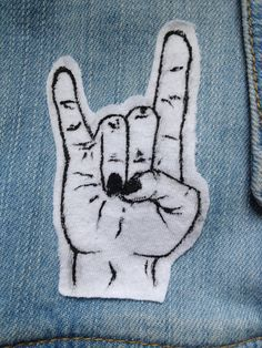Punk Rock and Roll Hand Symbol Patch by ObscuredPunk on Etsy, $3.00
