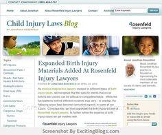 Child Injury Laws : Jonathan Rosenfeld : Rosenfeld Injury Lawyers : Medical Malpractice, Cerebral Palsy & Personal Injury Lawyer - Click to visit blog: