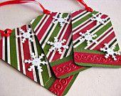 Red & Green Gift Tags, Traditional Christmas Snowflake Handmade - Set of 3