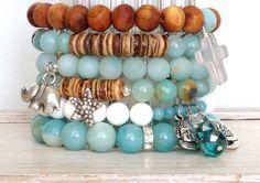 Aventurine Beaded Stretch Bracelet // Blue Green by LoveandLulu, $32.00