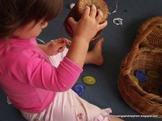 Pebbles and Basket Fun - a fun and easy open-ended learning experience for toddlers