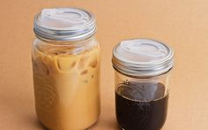 plastic reusable lid turns mason jar into travel mugs