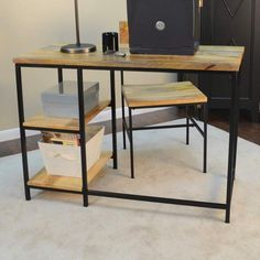 The simple functional design of the Flynn desk brings new heights to the word minimalism. It is pairing our blackened metal frame with asolid mango wooden desk top. Sturdy frame with wooden table tops and 2 fixed shelves. Furniture, Rustic Furniture Design, Rustic Desk, Home Decor, Modern Rustic, Wood And Metal Desk, Interior Design Styles, Carbon Loft, Desk