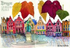 """""""Bruges, La grand Place"""". Mixed media, carnet de voyage. © Isy Ochoa 2005."""