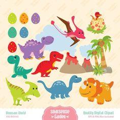 8 Dinos, Trees & Volcano