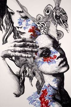 ADORE THIS!!  Illusion: Beautiful portraits with detailed line drawing by Gabriel Moreno. I like the way he overlays patterns on the faces.. http://illusion.scene360.com/illustration/5076/face-drawings/