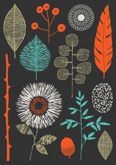 """""""Nature Trail limited edition giclee print by Eloise Renouf. This piece incorporates the colours tomato red, turquoise and sage on a charcoal-coloured background. All my images start life as something hand created, either painted, printed or drawn. Art And Illustration, Textures Patterns, Print Patterns, Pattern Designs, Illustrator, Grafik Design, Art Design, Surface Pattern Design, Oeuvre D'art"""