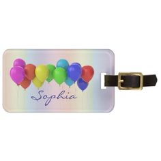 Pastel Rainbow Pink Red Yellow Green Blue Balloons Luggage Tag